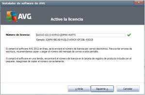 Activar licencia AVG 2012